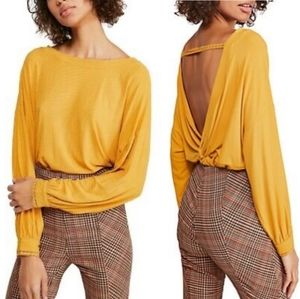 Free People Untamed Gold Shimmy Shake Top NWT